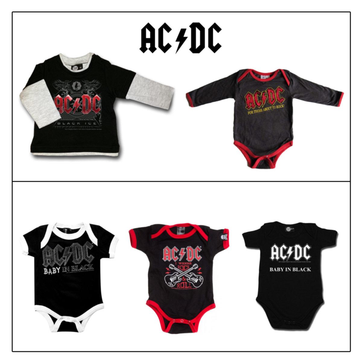 ACDC, BODY,TSHIRT,BABY, NEONATO, 0 24 MESI