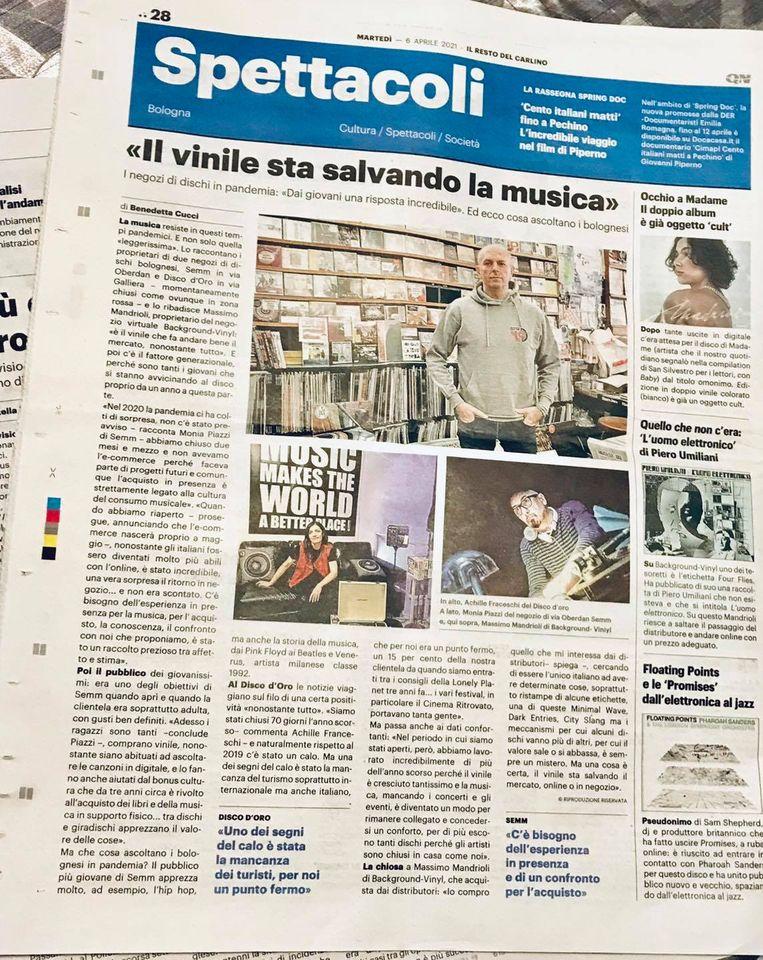 Semm Music Store Intervista Resto del Carlino di Bologna